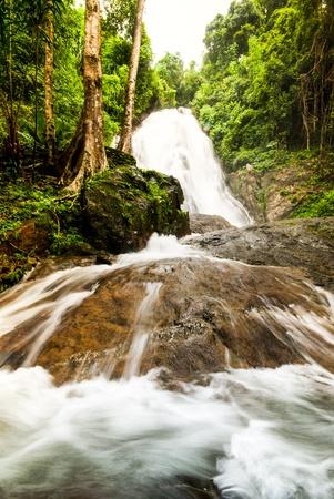 Punyaban Waterfall of Rainy Seasonat Ranong,Thailand photo