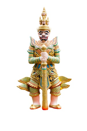 Giant statue standing  in the temple isolated on white background photo