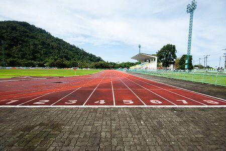 one lane: Athletics Track Lane Numbers at Stadium