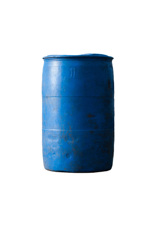 litre: Blue plastic 200 litre open top barrel isolated on white Stock Photo