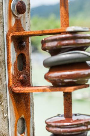 close up Insulators on power poles