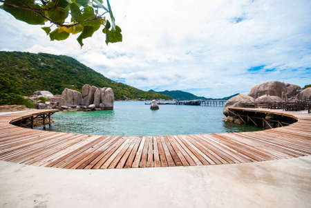 The wooden bridge at a beautiful beach on Nang Yuan Island  photo