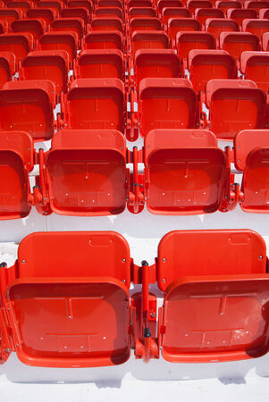 empty, red stadium seats at Suphan Buri Stock Photo