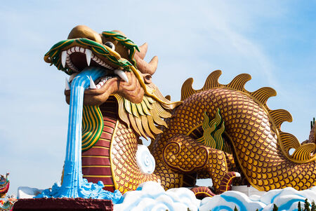 Dragon statue, located in the city centre of Suphanburi to celebrate of Thailand photo