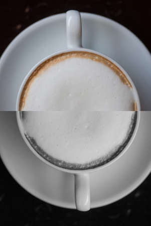 Close up cup of Hot Cappuccino coffee photo