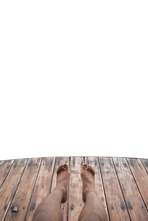 foot bridge: wooden foot bridge isolated on a white background Stock Photo