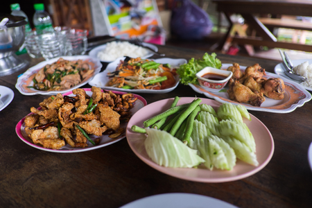 Set of Thai food on the wooden table Stock Photo