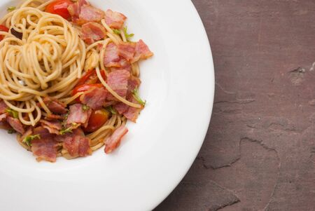 Spaghetti with dried chilli ,bacon and garlic