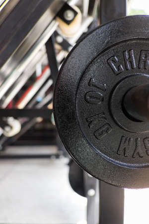 weight training in gym bodybuilding equipment close up