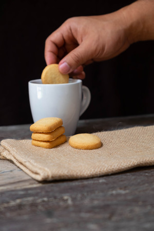 Butter cookies on the Wooden Background