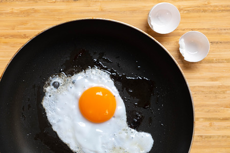 Fried egg on pan delicious healthy easy breakfast