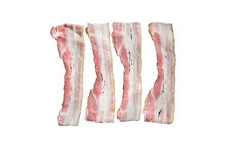 slices of fresh fried bacon in a pan for breakfast on a white background