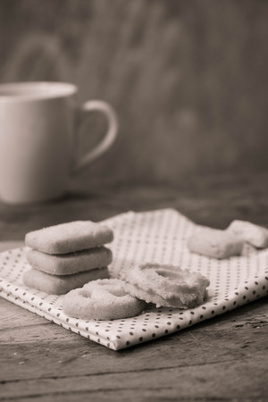 black and white Butter cookies on the Wooden Background Stock Photo