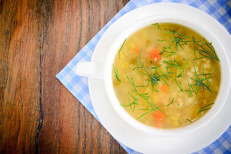 vegetable soup: Vegetable Soup in a White Plate.