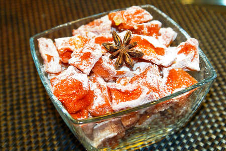 Sweet Candied Cumpkin with Cinnamon and other Spices Stock Photo