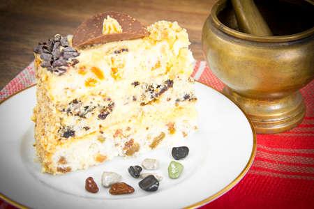 honey cake: Delicious Honey Cake Decorated with Chocolate. Studio Photo