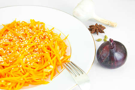 korean salad: Diet and Healthy Food: Korean Carrots. Studio Photo Stock Photo