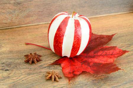 christmas grounds: Apple Stuffed with Cream Cheese Dietary Food. Brunch. Studio Photo