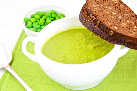 Dietary Soup Cream Puree of Green Peas Studio Photo Stock Photo