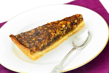 Homemade Cakes: Walnut Cake on Plate. Studio Photo Foto de archivo