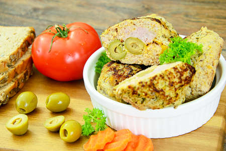 Healthy and Diet Food: Chicken Cutlets with Pumpkin. Studio Photo Stock Photo
