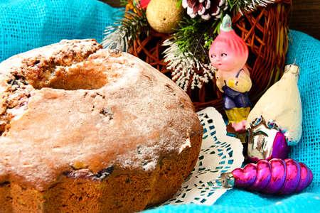 Christmas Cake on Holiday Background. New Year Photo Stock Photo