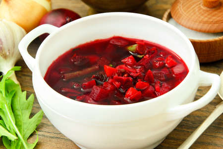 Healthy Food: Soup with Beets, Green Beans and Vegetables. Studio Photo