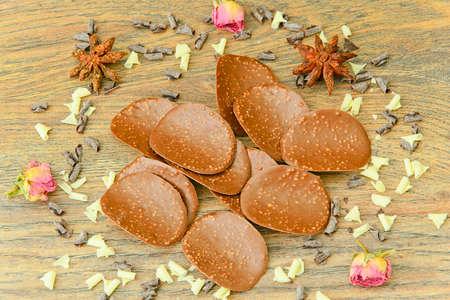 Sweet Edible Decorations: Chocolate Chips. Studio Photo Stock Photo