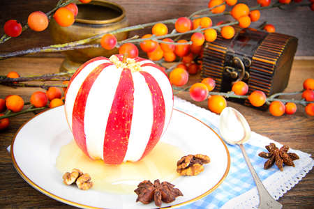 christmas grounds: Apple Stuffed with Cream Cheese Dietary Food. Brunch