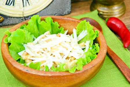 dikon: Dietary Salad from Daikon and Chicken. Health Food