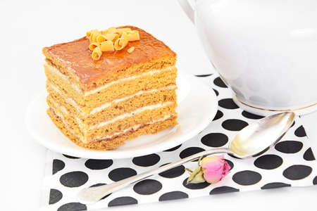 condensed: Cake with Condensed Milk, Nuts and Honey. Studio Photo