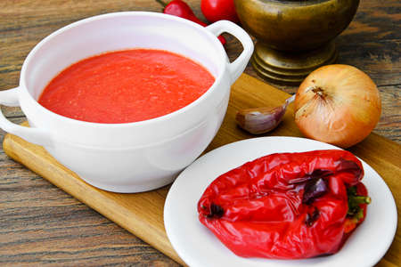 gazpacho: Fresh Homemade Classic Cold Gazpacho Soup. Studio Photo Stock Photo