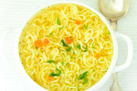 Tasty Chicken Soup with Noodles. Studio Photo Stock Photo