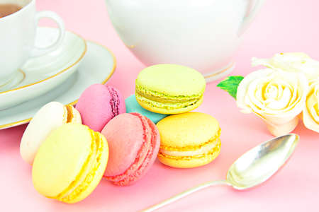 Sweet and Colourful French Macaroons. Studio Photo