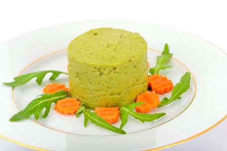 pureed: Puree Pate Broccoli, Pumpkin and Carrot. Studio Photo Stock Photo