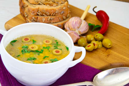 lenteja: Barley Soup with Olives and Peppers. Diet Food