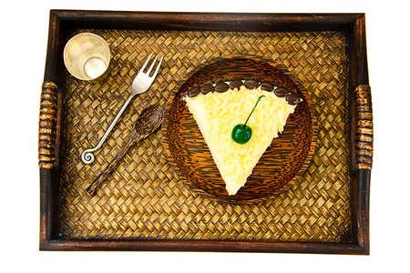 Tortas hechas en casa: Torta Vana Tallinn en un plato. estudio Fotográfico Foto de archivo