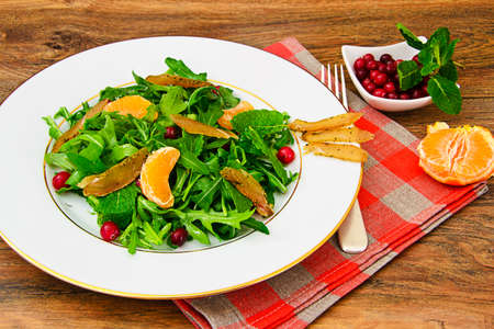 Salad Mix Batavian, Frise, Radicchio, Chicory and Chicken Dietary Meal Studio Photo