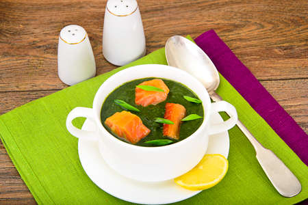 Mashed Spinach Soup with Salmon Studio Photo Stock Photo