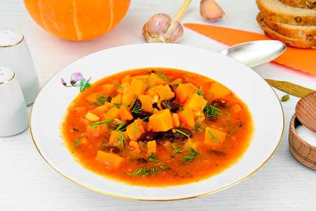 Pumpkin Soup Dietary Cuisine on Palte Studio Photo
