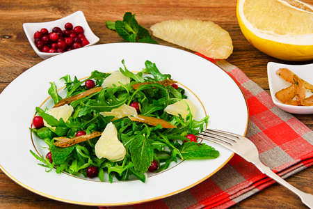 Salad Mix Batavian, Frise, Radicchio, Chicory, Cranberry and Grapefruit Chicken Dietary Meal Studio Photo