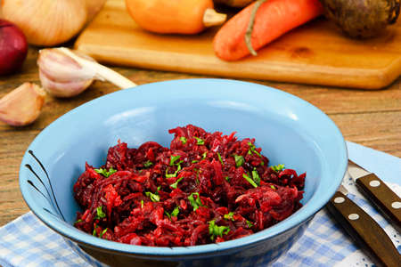 Beets, Stewed with Onions, Carrots, Garlic and Vegetable Oil Studio Photo Stock Photo
