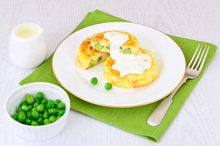 Cheesecake with Green Peas and Eggs. Studio Photo Stock Photo