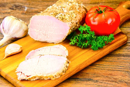 Cold Boiled Pork with Spice. Studio Photo Stock Photo