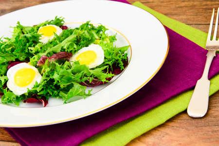 escarola: Salad Mix Batavian, Frise, Radicchio, Chicory, Dietary Mel and Egg Studio Photo