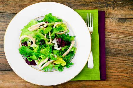 Salad Mix Batavian, Frise, Radicchio, Chicory and Squid Dietary Meal