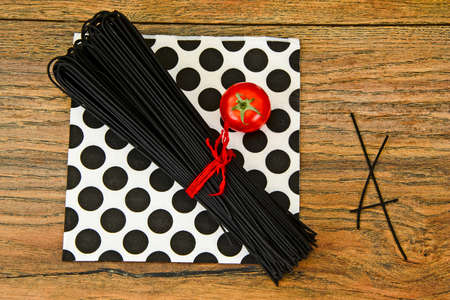 Black Pasta, Spaghetti Squid Ink, Seefood Studio Photo Stock Photo