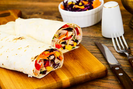 spit: Shawarma Lavash with Chicken and Vegetables Studio Photo