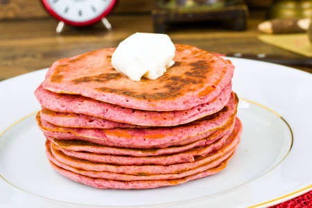 beets: Pancake with Beets. Diet Food. Studio Photo