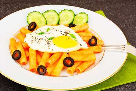 Pasta with Egg and Chia Seeds Studio Photo